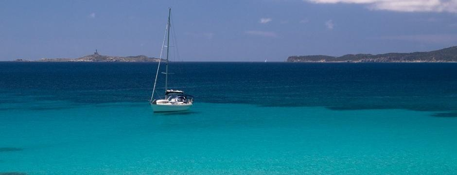 Sailing Boat in Sardinian Sea